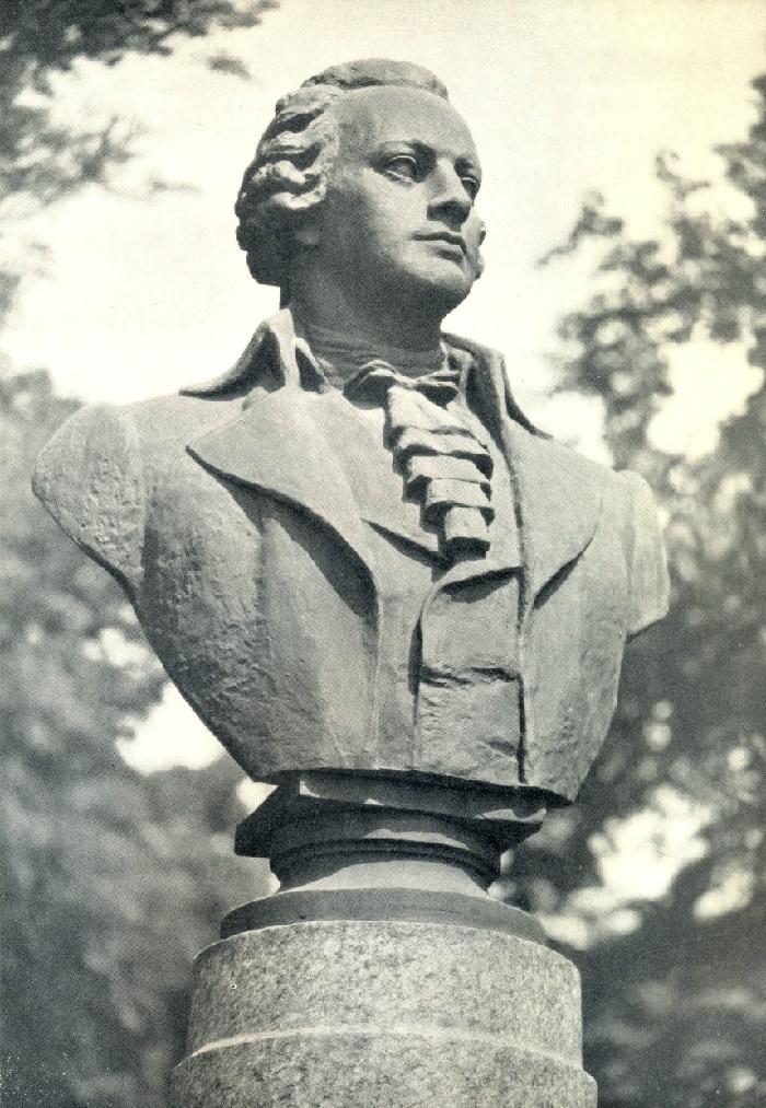Closeup F. Shubin monument in Leningrad