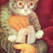 Detail. A boy with a kitten. 1975. A.M. Trushin