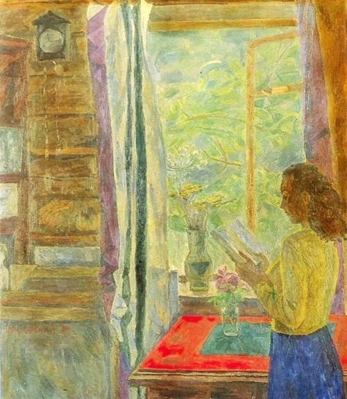 Next to the window. 1981. Oil on canvas. Soviet landscape painter Eduard Bragovsky