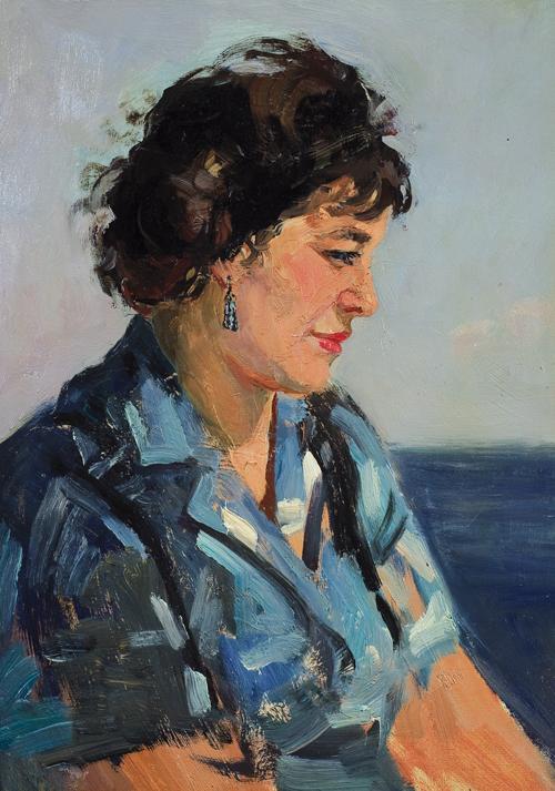 Female portrait. 1960-ies. Oil on cardboard