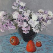 Flowers and persimmon. Cardboard, oil. 1986