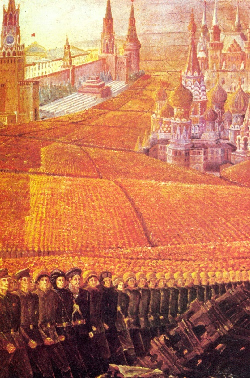 Fragment of painting 'To the memory of twenty million people' (died in WWII). Artist G.P. Sapozhnikov. 1975 Soviet Self-taught Artists All-Union exhibition