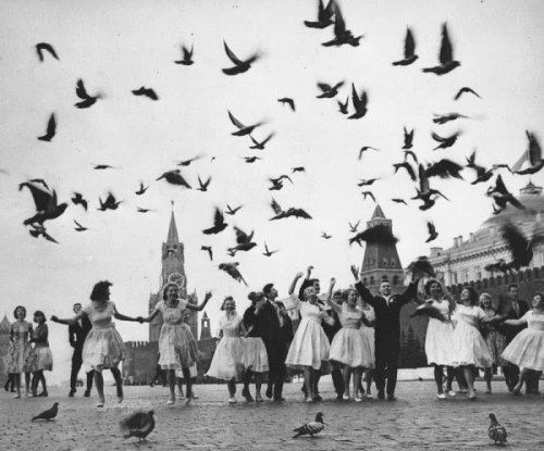 Graduates of Moscow schools on Red Square. 1962