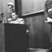Hermann Goering gives evidence at the Nuremberg trial. Nuremberg 1946