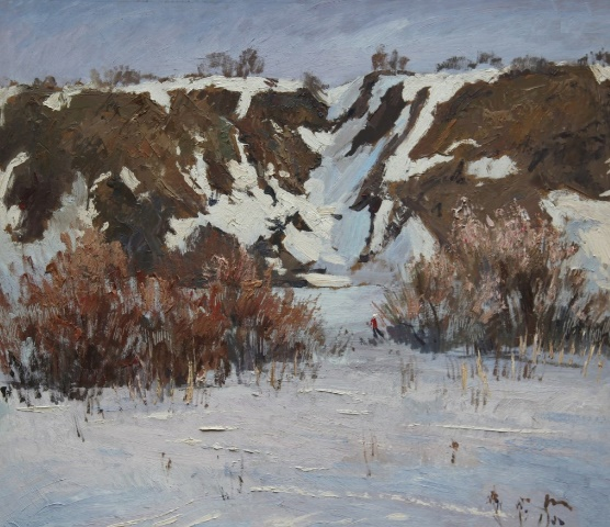 In the winter (Ski Sunday). 1978. Cardboard, oil