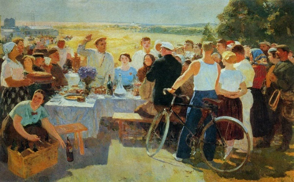 Kolkhoz holiday. 1936-1937. Oil on canvas. Tretyakov gallery. Soviet artist Sergey Vasilievich Gerasimov (1885–1964)
