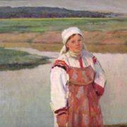 Mordovia. On the Moksha river. 1968. Canvas, tempera