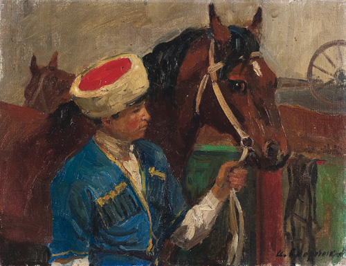 Murat with Kazbek. 1963. Oil on cardboard