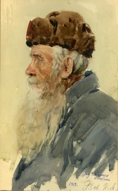 Old man. Sketch for the painting. 1969