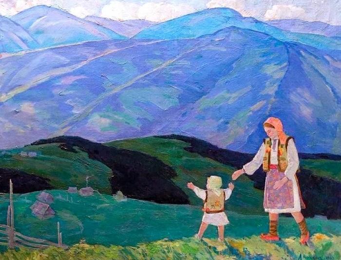 On the Polonyna. 1968. (meadow area of the Ukrainian Carpathians)