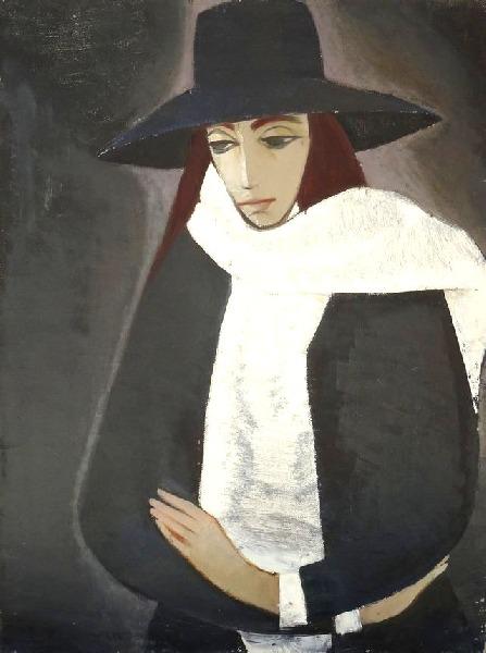 Parisian lady in a white scarf. 1965. Oil, canvas
