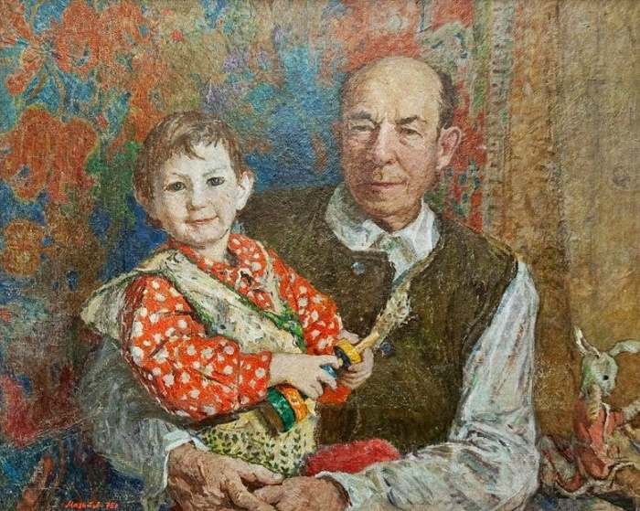 Portrait of a veteran of the party and war N.G. Mazitov, 1975