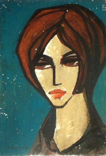 Portrait on blue background. 1950s. Oil, cardboard