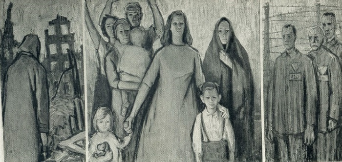 Protest against the war. Triptych. 1957. Oil. Artist L. Muuga