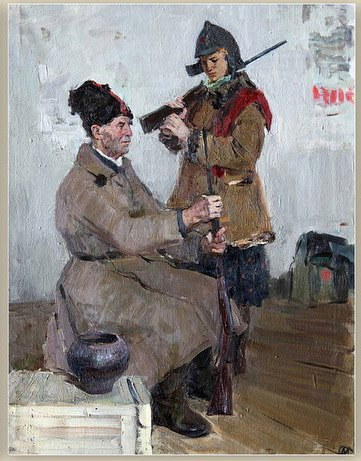 Red Army soldiers (in Civil War), 1970. Sketch