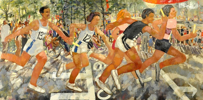Relay race. 1944. Oil on canvas. Latvian National Art Museum