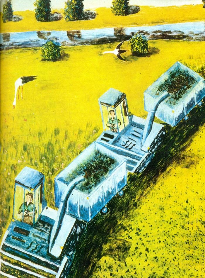 S.B. Krivitskas. Machines harvest the fields. 1975