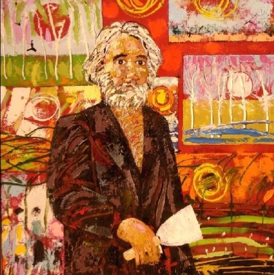 Self-portrait. Oil on cardboard