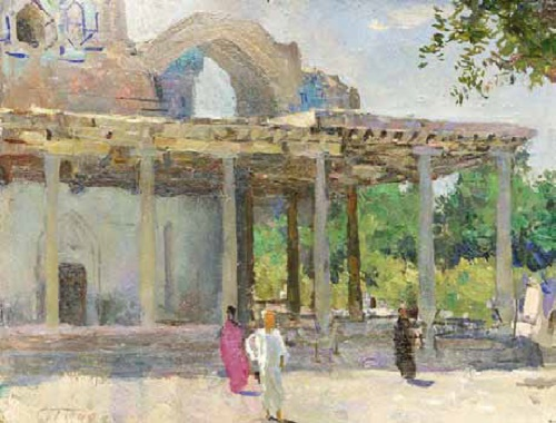 Samarkand. Spring morning. 1942. Cardboard, oil