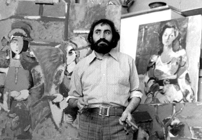 Soviet Armenian artist in his workshop