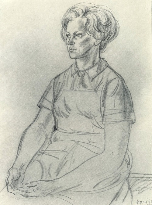 Estonian woman. 1970. Charcoal, sanguine