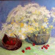 Strawberry and wildflowers in the basket, still life