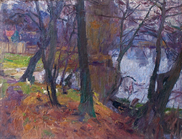 The abandoned pond. Cardbozrd, oil. 1970