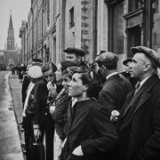 The first day of the war. Moscow, June 22, 1941. Street October 25, 12.00. Citizens listen to VM. Molotov about the beginning of the war