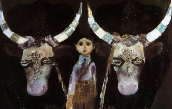 The left part of the triptych is 'The Story of One Life'. Childhood