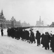 The queue to the Lenin Mausoleum. Moscow, Red Square in the early 1960s