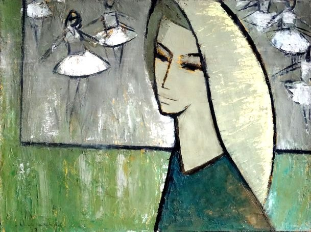 Thoughts about ballet. 1970. Oil, canvas, cardboard