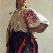 Ukrainian girl in national dress. 1952. Portrait