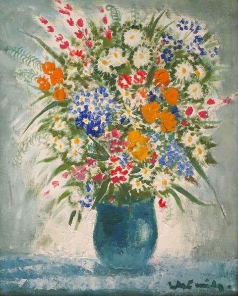 Vase with wildflowers. Oil on cardboard