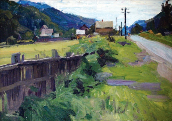 Village in Moldavia. 1958. Oil on cardboard