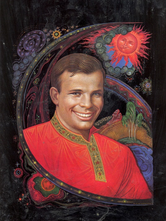 Yuri Gagarin in Soviet Palekh lacquer miniatures