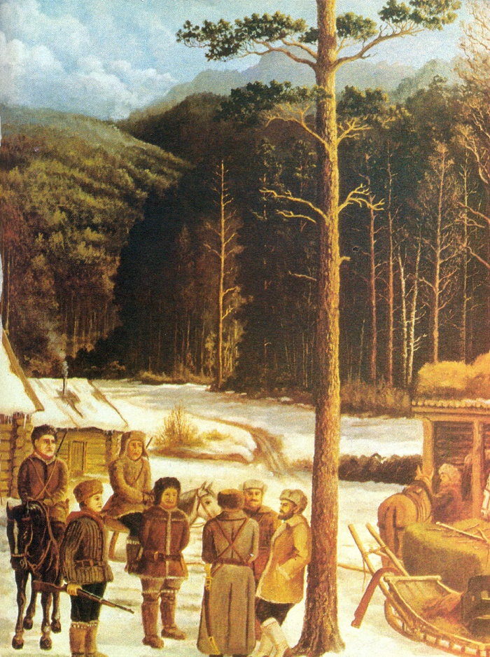 Zverev's detachment on the defeating the gangs on the Lena (river in Siberia). 1975. Artist G.F. Baramygin