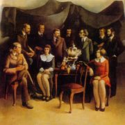 A group of Daugavpils artists'. 1974. Oil, canvas. Directorate of exhibitions of the Union of Artists of the USSR