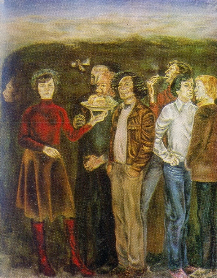 A group portrait of artists in Crimea on the occasion of the celebration. 1977