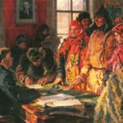 The registry office. Oil. 1928. The State Tretyakov Gallery
