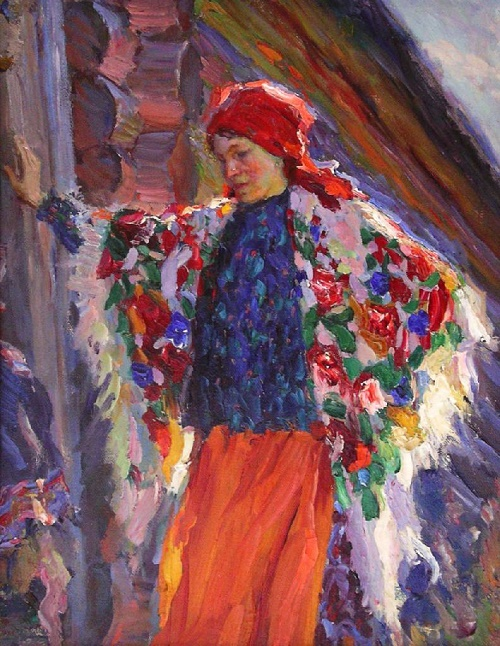 Woman in a red scarf. 1918