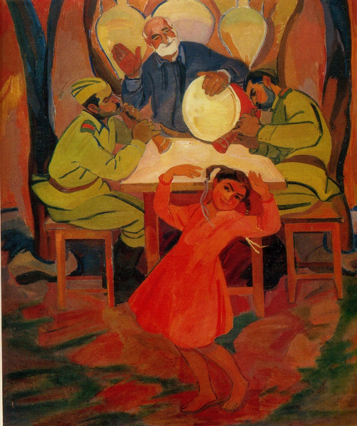 At home. Dance. 1964. Oil, canvas. State Museum of Arts of peoples of the East. Moscow