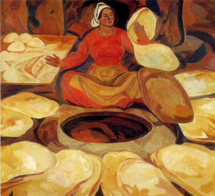 Baking lavash. 1971. Oil on canvas. Ministry of Culture of USSR, Moscow