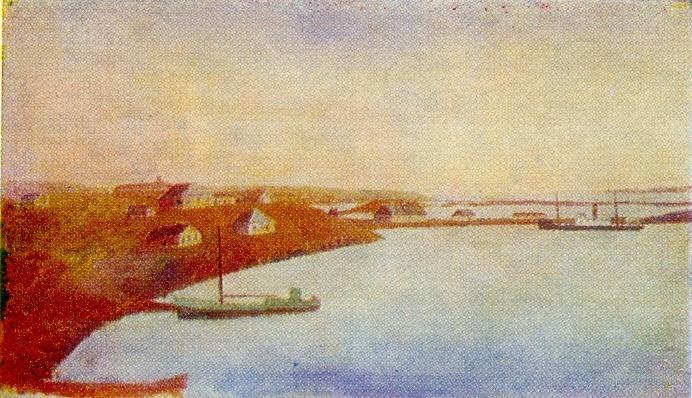 Belushya Guba settlement. 1950s. Canvas, oil. Arkhangelsk Museum of Fine Arts