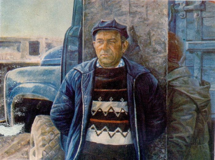 Builder, brigadier of carpenters Mozgovoy. 1979. Hardboard, Oil