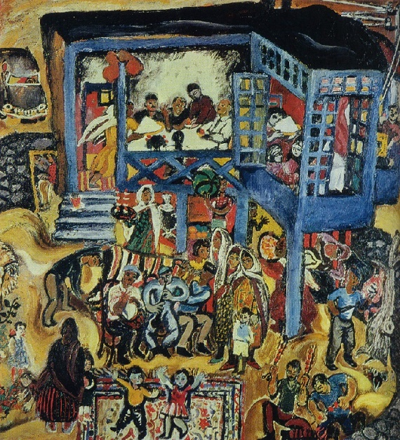 Celebration in the village of Buzovny. 1968. Oil, canvas. Art fund of Azerbaijani SSR. Painting by Soviet Azerbaijan artist Togrul Narimanbekov (August 7, 1930, Baku - June 2, 2013, Paris)
