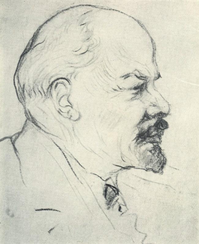 Coal drawing. Lenin. 1918