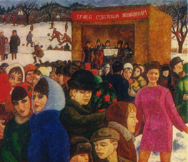 Detail of painting. Russian winter. 1969. Oil, tempera