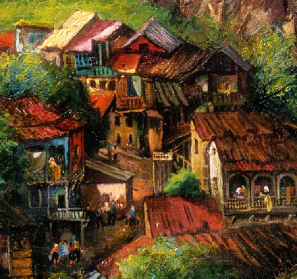 Detail. Old Tbilisi. 1969. Oil on canvas. Painting by Soviet Georgian artist Elena Akhvlediani (1901-1975)