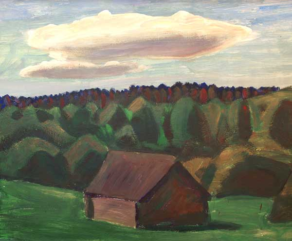 Evening landscape. 1980. Oil on cardboard