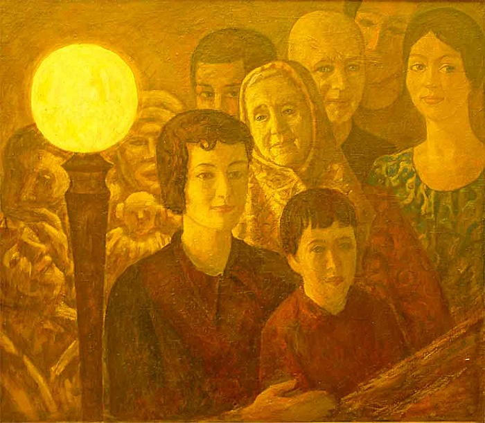 Evening. Group portrait of people at the lamp